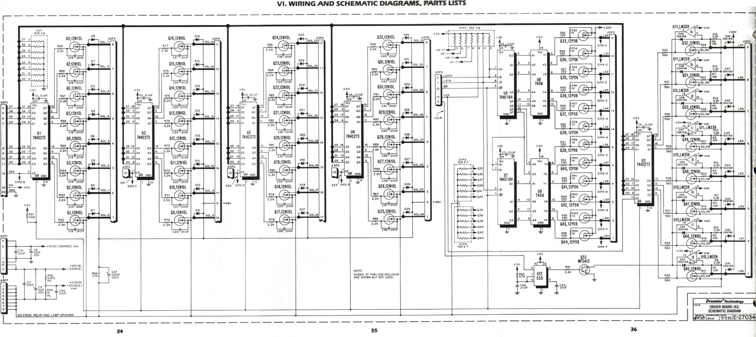 Schematic for the Gottlieb System 3 Driver board